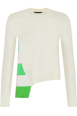 ASYMMETRIC STRIPE KNIT TOP WHITE GREEN