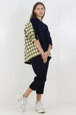 OMBRE CHECK KNIT WITH BACK DETAIL 3/4SL NAVY/YELLOW