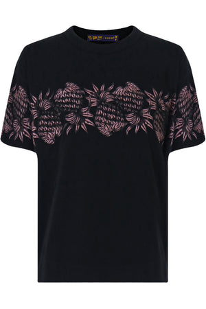 SUN SURF EMBROIDERED T-SHIRT BLACK