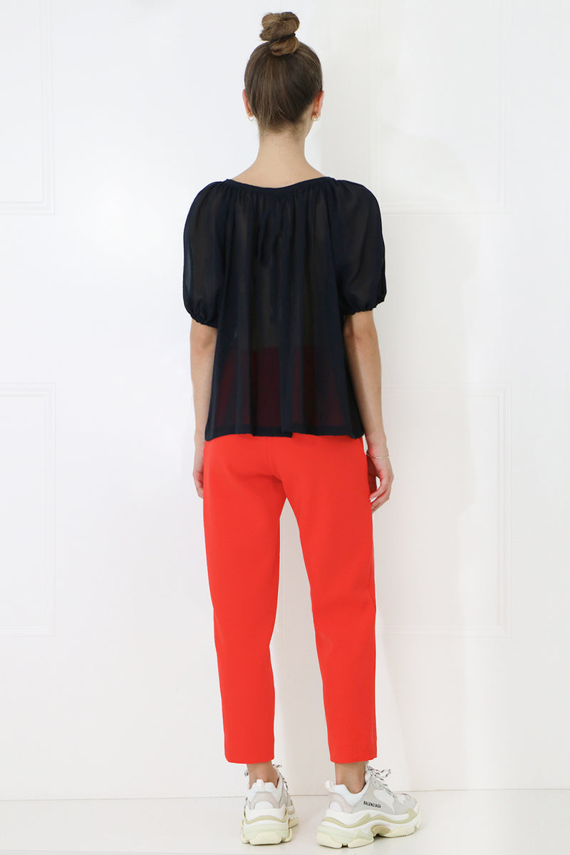 TISSUE NARROW CROP PANT RED