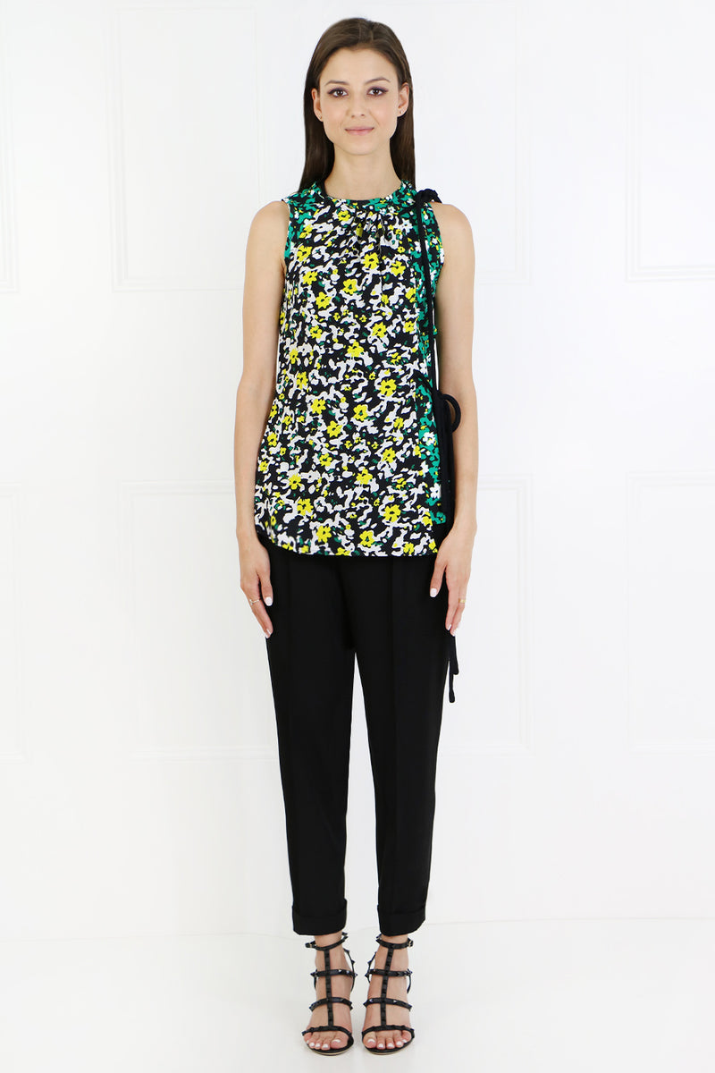 ASYMMETRIC BLOUSE S/LESS POPPY PRINT GREEN