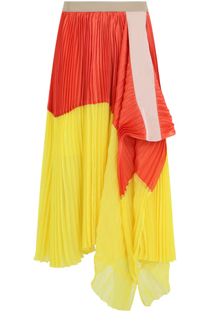 CONTRAST PLEATED SKIRT ORANGE/YELLOW
