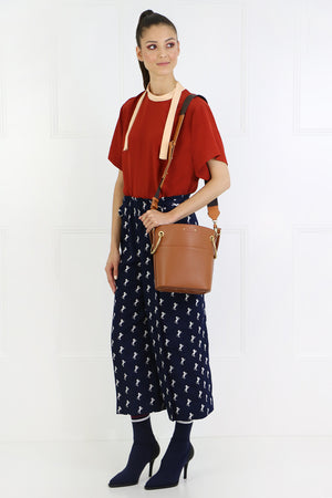 NECK TIE BLOUSE S/S RUST