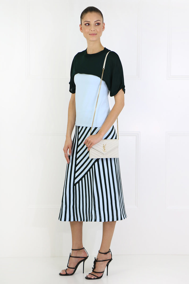 AYSMMETRIC MIDI SKIRT BLUE/BLACK