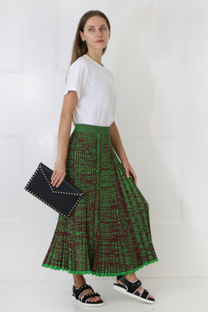 PLEATED KNIT SKIRT GREEN/MAROON