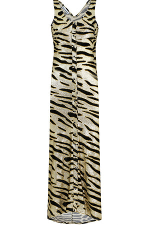 TIGER STRIPE VELVET DRESS S/LESS GOLD