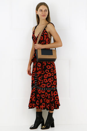 FLORAL JACQUARD DROP WAIST DRESS BLACK RED