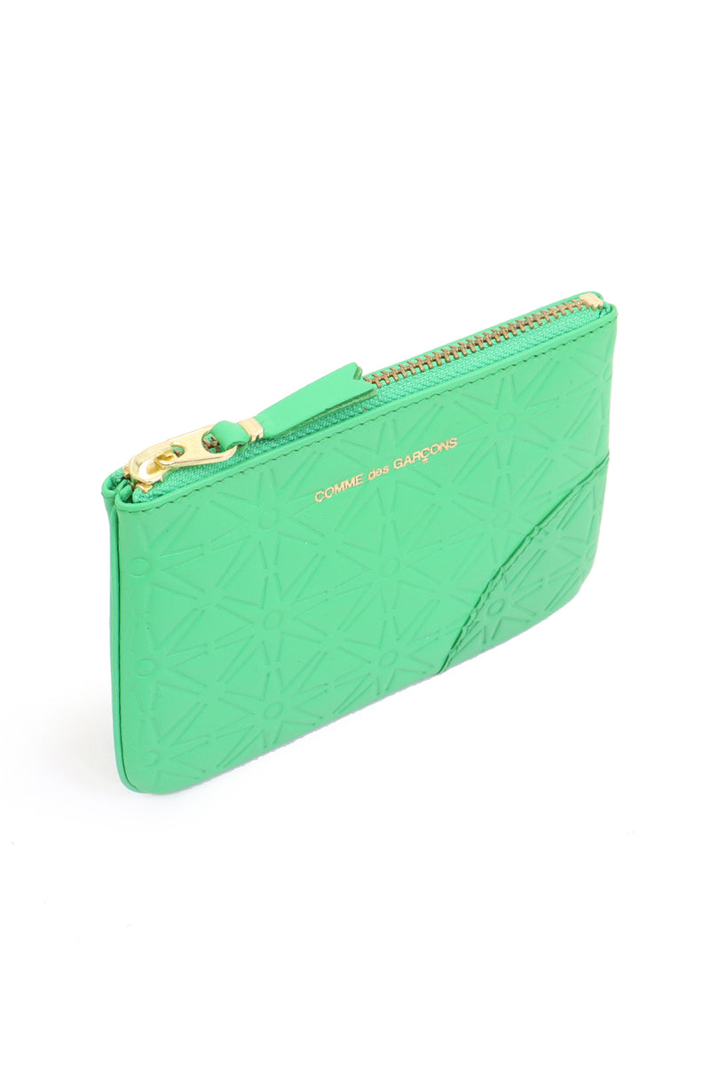 SMALL STAR EMBOSSED LEATHER POUCH GREEN