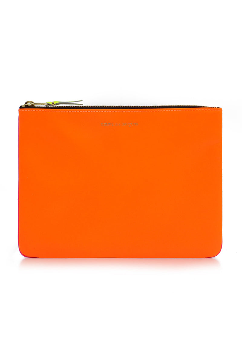 FLURO LEATHER POUCH ORANGE/PINK