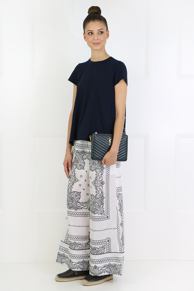 BANDANA PRINT WIDE LEG PANTS OFF WHITE