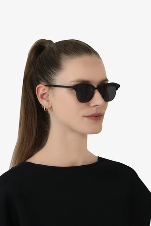 356 CAT EYE METAL SUNGLASSES BLACK