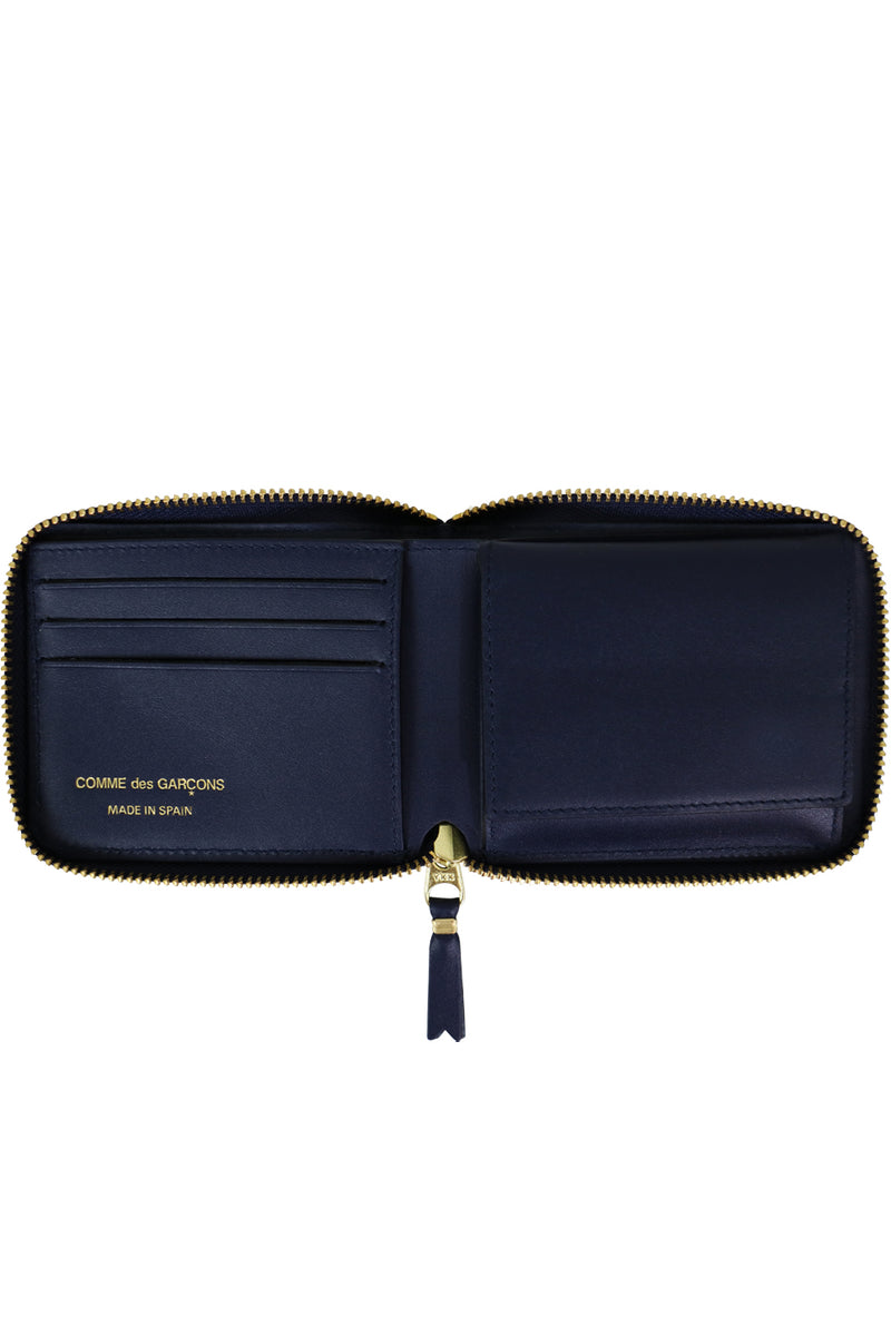CLASSIC LEATHER ZIP WALLET NAVY