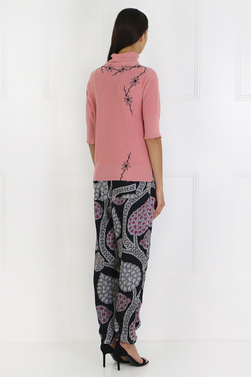 EVERSON RELAXED PANT WITH PAISLEY PRINT BLACK