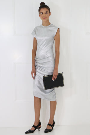 ASYMMETRIC RUCHED CAP/SL DRESS SILVER