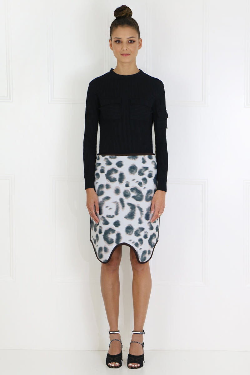 NEOPRENE ASYMMETRIC SKIRT FADED LEOPARD