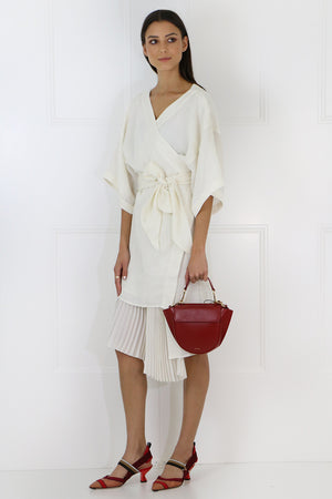 IZZY PLEATED KIMONO DRESS IVORY