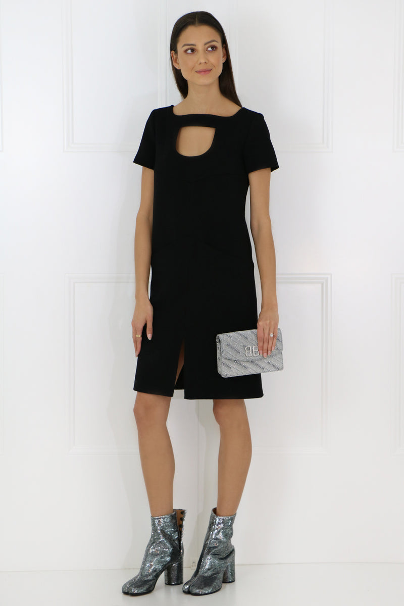 TAILORED MINI DRESS WITH NECK CUTOUT BLACK