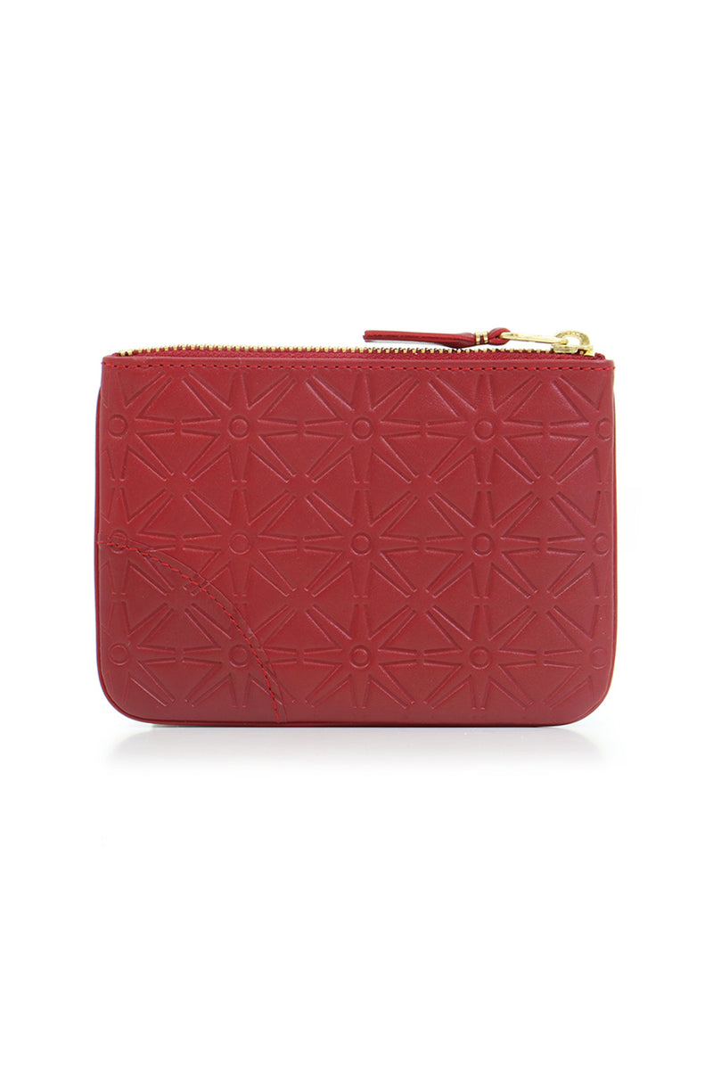 SMALL STAR EMBOSSED LEATHER POUCH RED