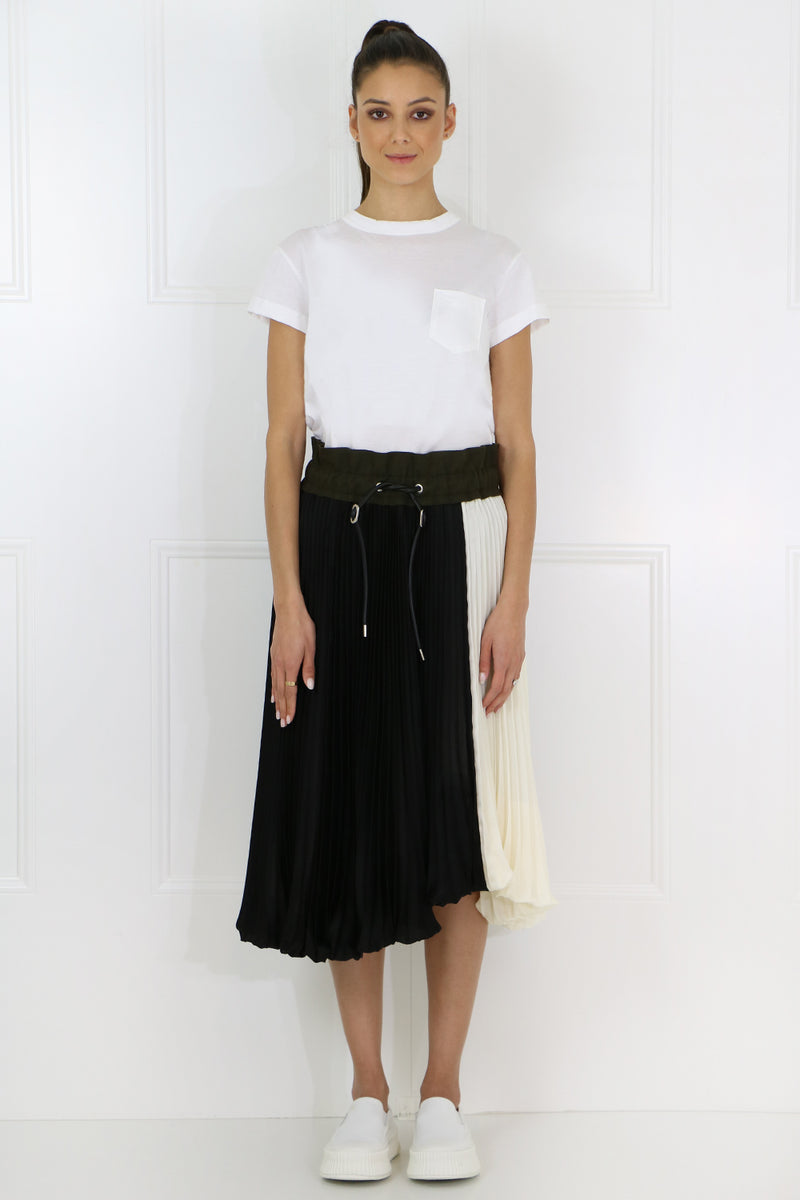 PLEATED BUBBLE SKIRT BLACK/ECRU
