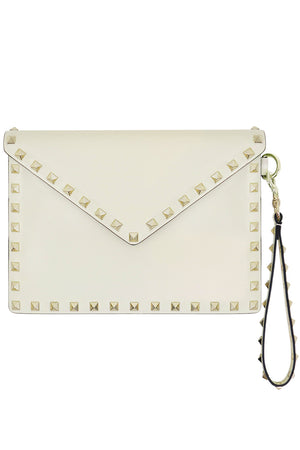 SMALL ROCKSTUD ENVELOPE POUCH SMOOTH LEATHER LIGHT IVORY