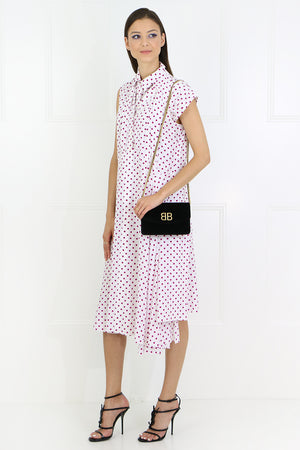 LAYERED POLKDOT SHIRT DRESS PINK/WHITE