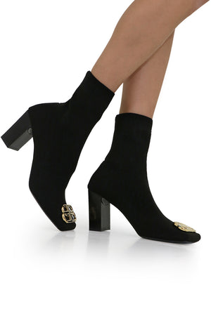 BB KNIT BOOT 80MM BLACK/GOLD