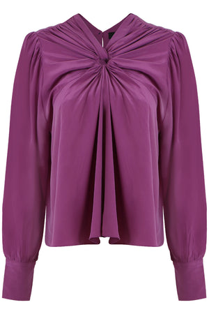 LEONORE GATHERED CIRCLE BLOUSE L/S PURPLE