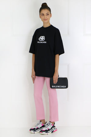 TAPERED FRONT ZIP TROUSERS BABY PINK