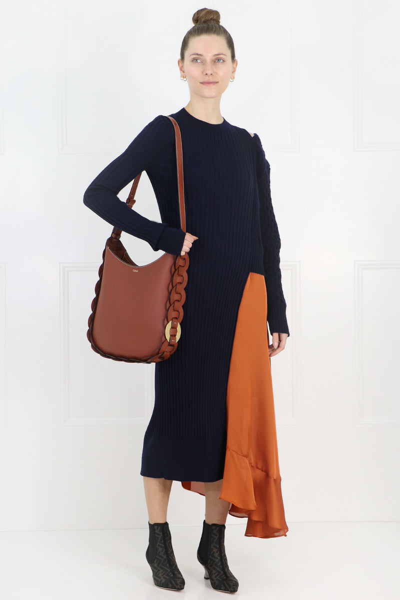 CONTRAST KNIT DRESS WITH OPEN SHOULDER NAVY/ORANGE