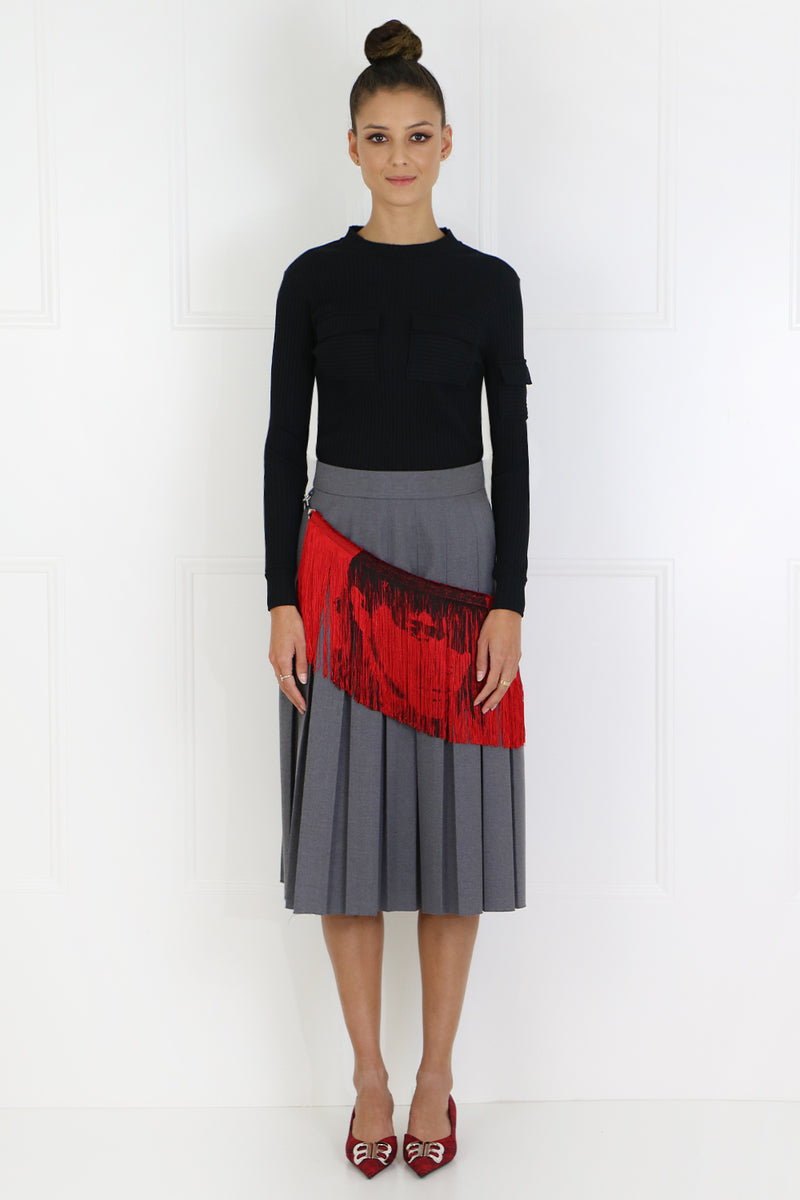 PLEATED SKIRT WITH FRINGE BELT GREY