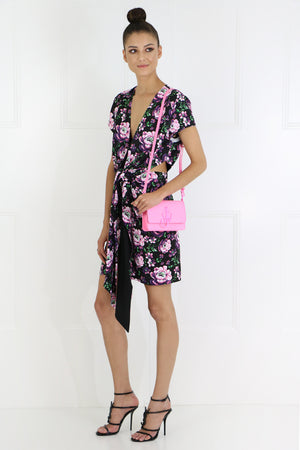 DORADO FLORAL V-NECK DRESS S/S BLACK
