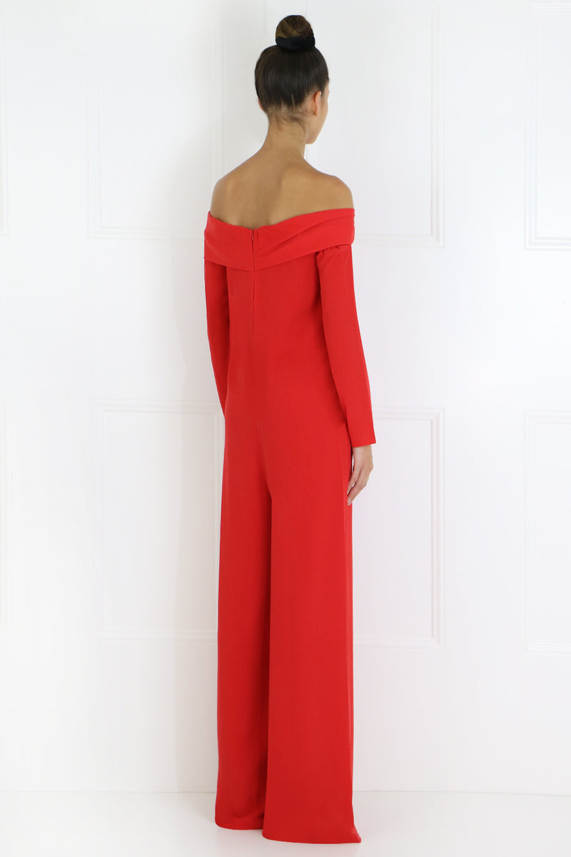 OFF SHOULDER DAISY JUMPSUIT L/S RED