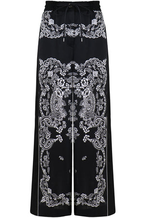 WIDE LEG PANTS FLORAL PRINT BLACK