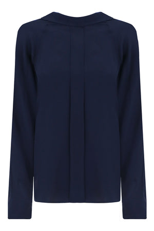 HIGH NECK BLOUSE L/S NAVY