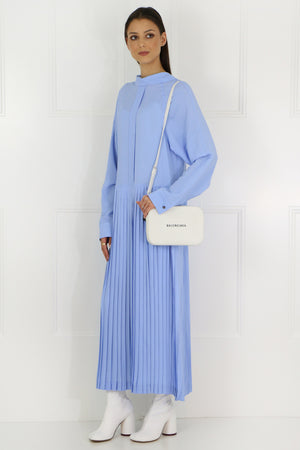 PLEATED MAXI DRESS L/S BLUE