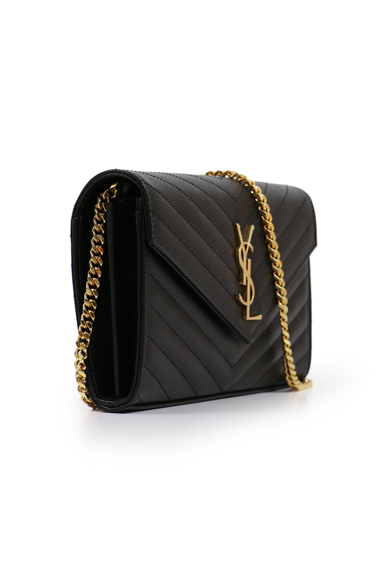 MONOGRAMME QUILTED CHAIN WALLET BLACK/GOLD