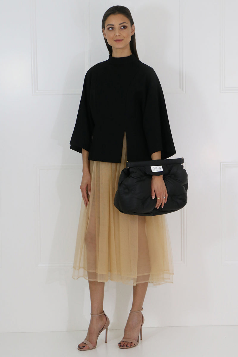 NOIR CONTRAST TULLE DRESS S/S BLACK/BEIGE