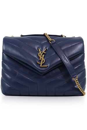 LOULOU SMALL FLAP BAG COBALT/GOLD