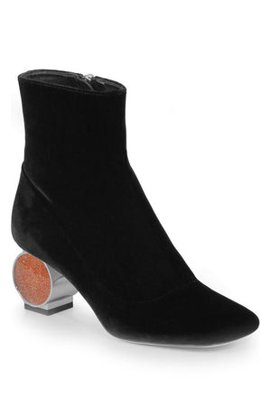STRASS HEEL BOOT 55MM BLACK VELVET