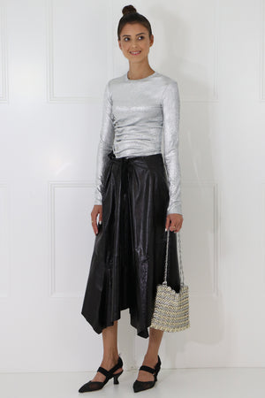 ASYMMETRIC LEATHER SKIRT BLACK