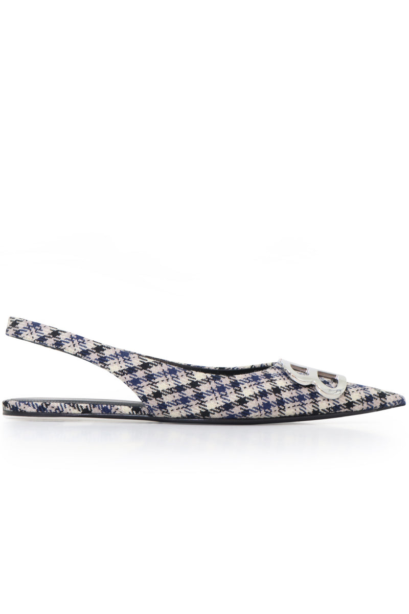 BB CHECK SLINGBACK NAVY/BEIGE