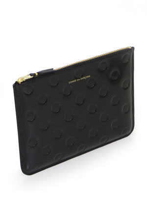 POLKADOT LEATHER POUCH BLACK