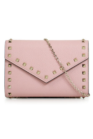 ROCKSTUD FLAP WALLET ON CHAIN WATER ROSE