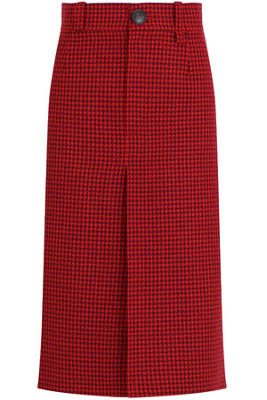 BUTTONED SKIRT WITH HOUNDSTOOTH PRINT RED