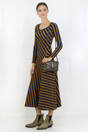 STRIPE MIDI DRESS L/S NAVY/MUSTARD