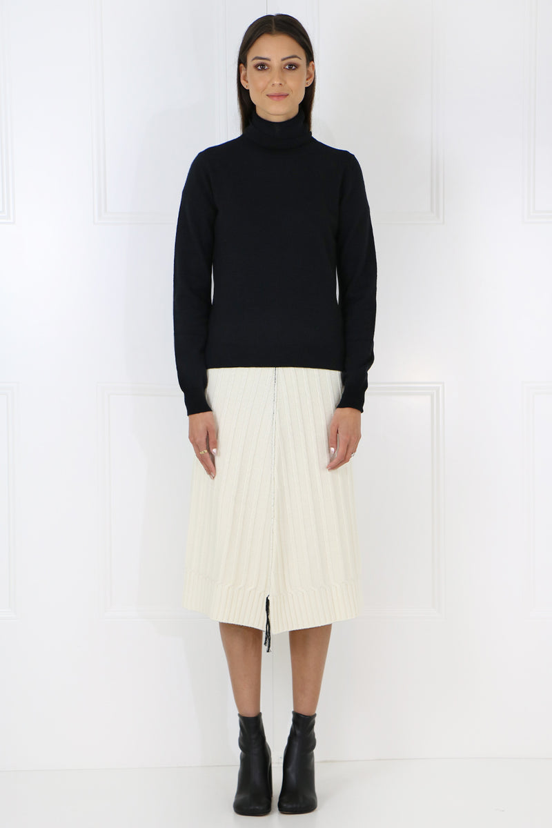RIBBED KNIT SKIRT WHITE