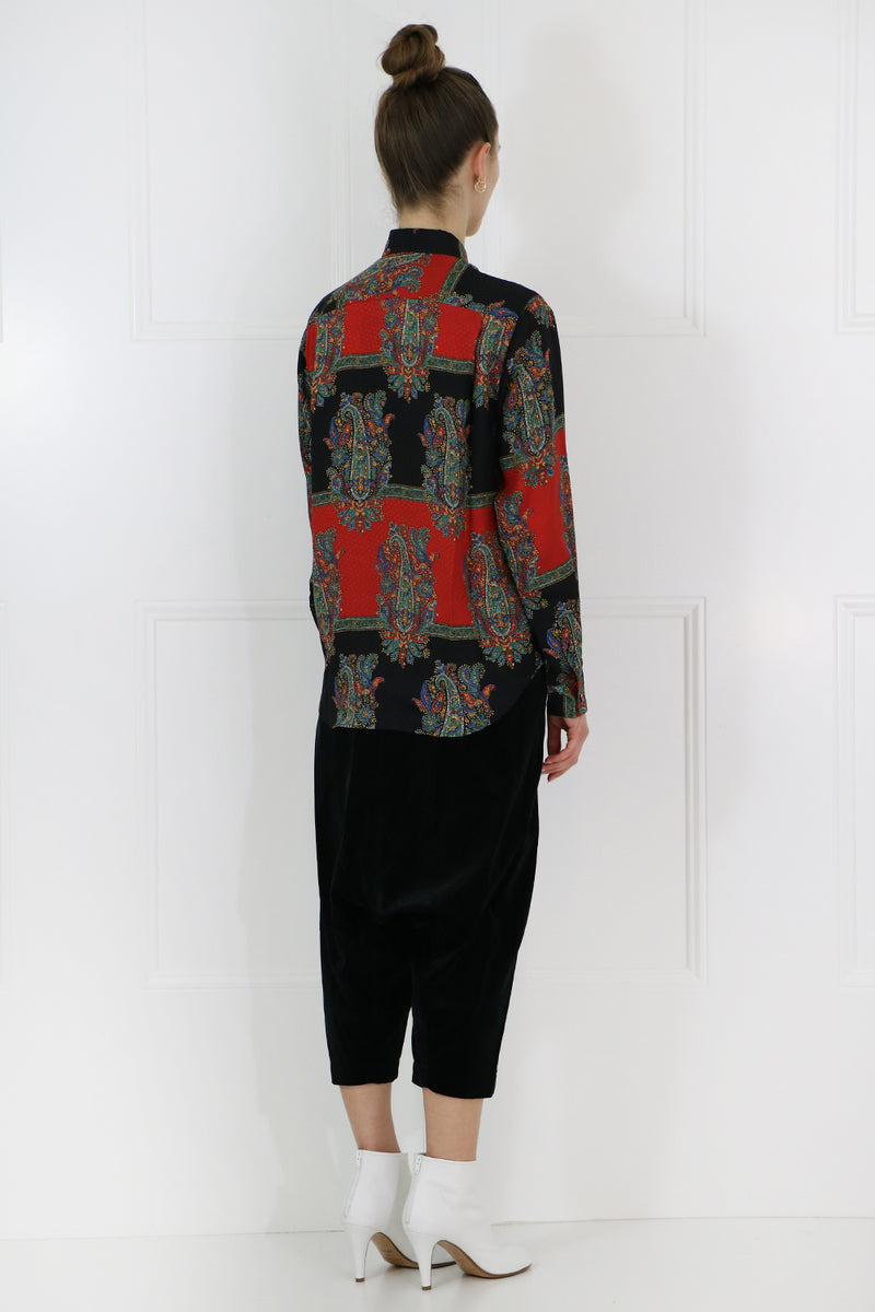 PAISLEY STRIPE BLOUSE L/S RED/BLACK