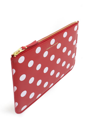 POLKA DOT LEATHER POUCH RED