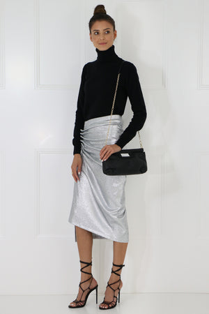 ASYMMETRIC RUCHED SKIRT SILVER