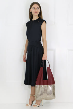 KNIFE PLEATED SKIRT DARK BLUE